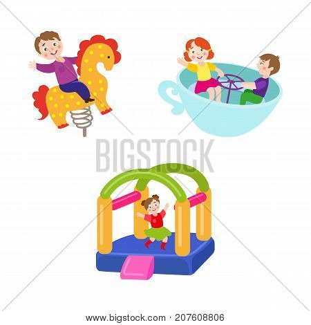 vector flat kids in amusement park set. Girl having fun in inflatable bouncy castle, boy riding at spring horse seesaw, kids spinning at tea cup carousel. Isolated illustration on a white background