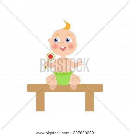vector flat cartoon new born infant baby sitting at wooden table in green diaper holding rattle smiling. Isolated illustration on a white background