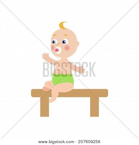 vector flat cartoon new born infant baby with nipple sitting at wooden table with in green diaper side view Isolated illustration on a white background