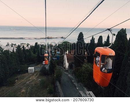 Yalta Crimea - September 21 2017: ropeway over streets of Yalta