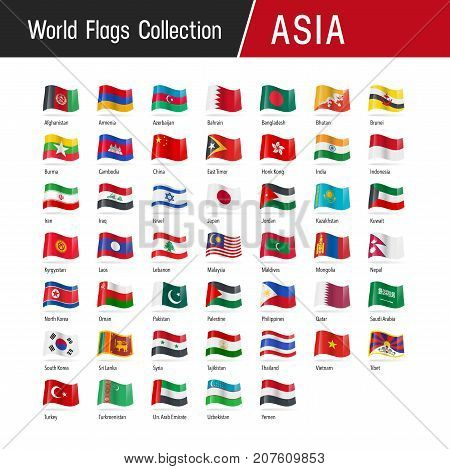 Set Of Asian Flags - Vector Illustrations