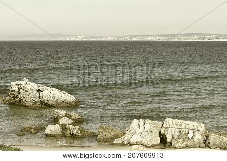 Rocky Coast of Atlantic Ocean in Portugal Stylized Photo