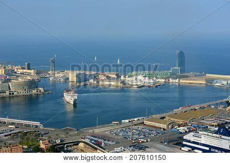 BARCELONA - JUN. 11, 2013: Port of Barcelona aerial view from Montjuic, Barcelona, Catalonia, Spain.