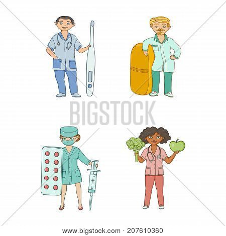 Doctors, therapists with huge syringe, pill, thermometer, apple and broccoli, flat cartoon vector illustration isolated on white background. Cartoon doctors with huge medical objects
