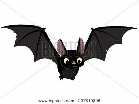 Vector cartoon illustration of cute friendly black bat character flying with wings spread in flat contemporary style isolated on white.