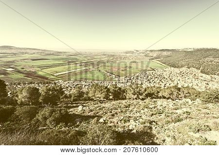Aerial View from Mount Tabor to Arab City and Jezreel Valley in Israel Stylized Photo