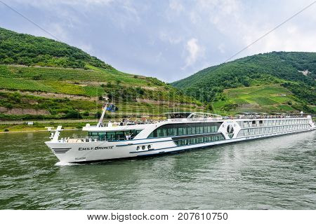 Rhine River - July 16 2017: Passengers aboard the Emily Bronte River Boat one of the three brand new ships to join the Riviera Travel's fleet available exclusively to the UK market.