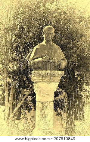 Bronze Bust of the Pope Paulus Sixth on the Mount Tabor in Israel Stylized Photo