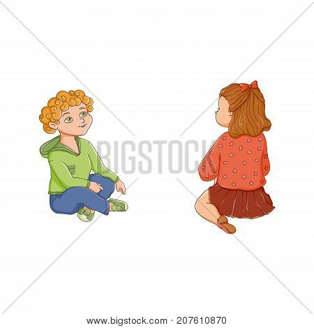 vector flat children - boy and girl sitting at preschool class listening attentively to a teacher, back and front side view. Isolated illustration on a white background. Kindergarten concept
