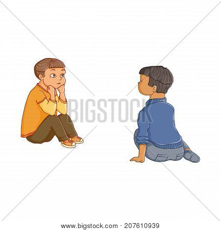 vector flat children - boys sitting at preschool class listening attentively, with interest to a teacher, back and front side view. Isolated illustration on a white background. Kindergarten concept