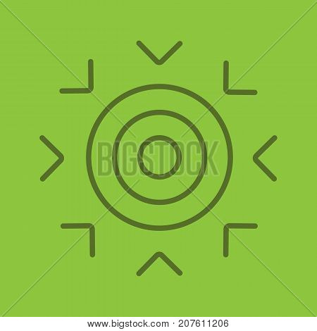 Goal linear icon. Purpose abstract metaphor. Thin line outline symbols on color background. Vector illustration