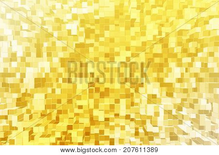 Abstract yellow hyper cube background. 3D Rendering