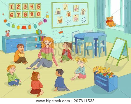vector flat children - boys and girls sitting around young woman with book - teacher and listening to her attentively in class. Isolated illustration on a white background. Kindergarten concept