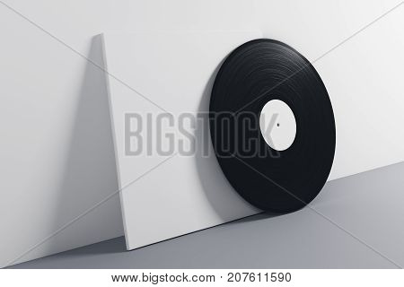 Black and white vinyl sleeve on gray background. Obsolete concept. Mock up 3D Rendering