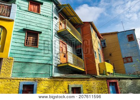 The colorful houses of Caminito Street in La Boca, Buenos Aires