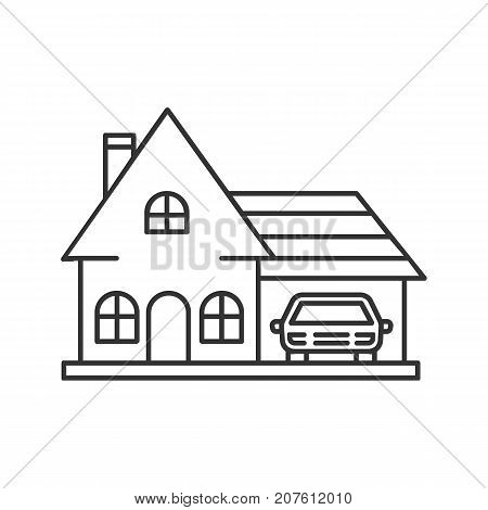 Cottage, family house, residence linear icon. Thin line illustration. Private apartment. Contour symbol. Vector isolated outline drawing