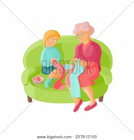 Grandmother teaching her granddaughter to knit, flat cartoon vector illustration isolated on white background. Old lady, grandparent, grandmother knitting scarves with granddaughter