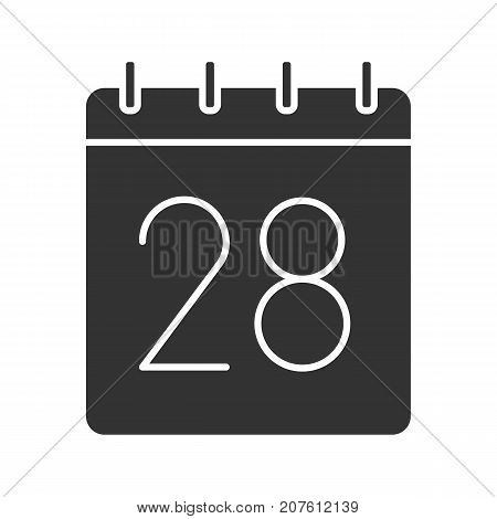 Twenty eighth day of month glyph icon. Date silhouette symbol. Wall calendar with 28 sign. Negative space. Vector isolated illustration