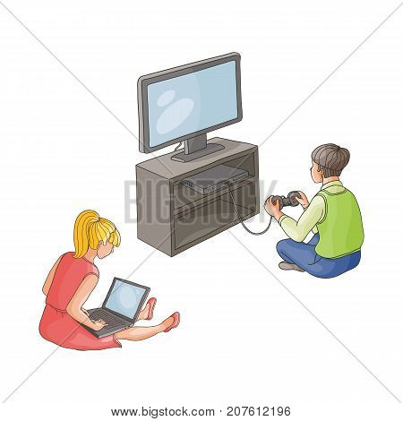 vector flat cartoon teen boy playing video console game by joystick sitting near tv panel stand, girl using laptop Isolated illustration on a white background. modern digital visual technology concept