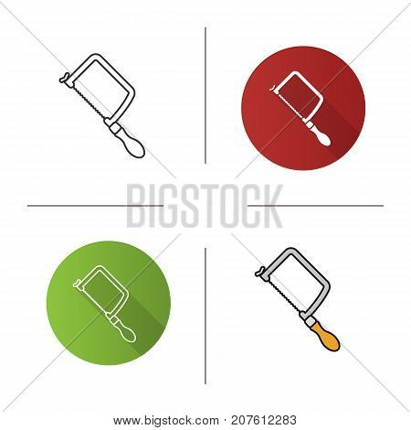 Fretsaw icon. Flat design, linear and color styles. Jigsaw. Isolated vector illustrations