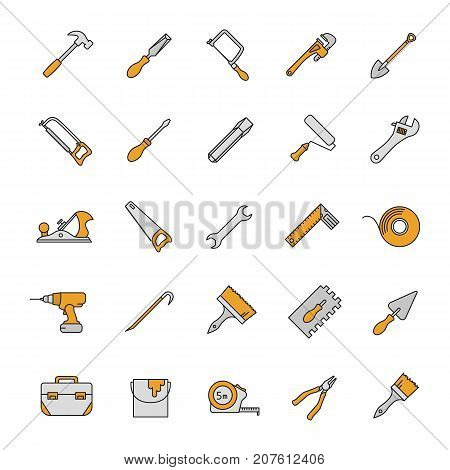 Construction tools color icons set. Renovation and repair instruments. Spanner, shovel, hammer, paint brush, measuring tape, chisel, crowbar. Isolated vector illustrations
