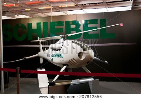 Changi, Singapore - Feb 6,2010 : Schiebel helicopter UAVs show in Singapore Air Show 2010