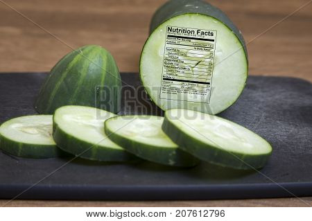 Cucumber With Nutritional Label