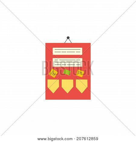 Flat style classroom announcement board icon with sticky notes, vector illustration isolated on white background. Flat style announcement board icon with stickers, classroom decoration object