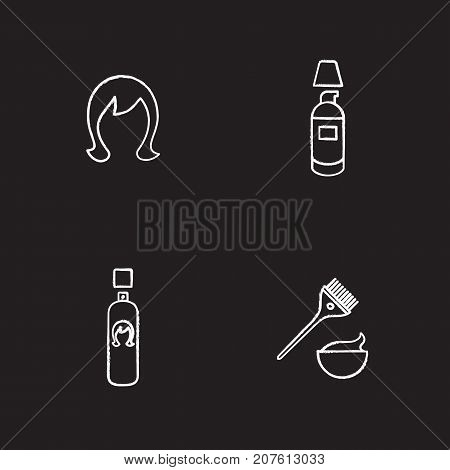 Hair care accessories chalk icons set. Wig, spray bottle, concealer cream, hair dyeing kit. Isolated vector chalkboard illustrations