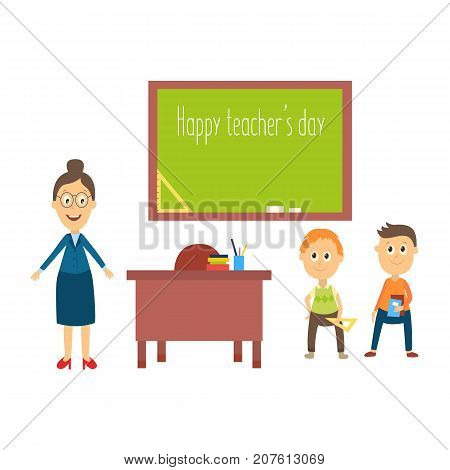 vector flat cartoon adult woman teacher in glasses, boy and girl kids pupils holding books, notebooks and triangle in classroom near chalkboard. Isolated illustration on a white background.
