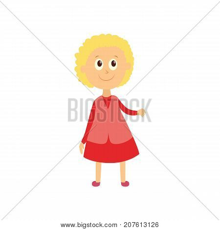 vector flat cartoon style female character - cute cheerful blonde haired girl pupil, schoolkid standing smiling in pink dress. Isolated illustration on a white background.