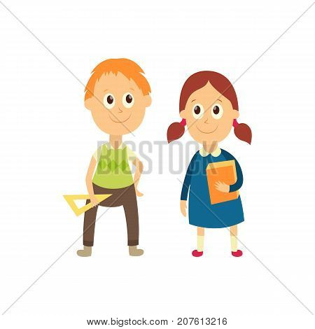 vector flat cartoon male character - cute boy and girl pupil, schoolkid standing smiling holding triangle, workbooks in hands. Isolated illustration on a white background.