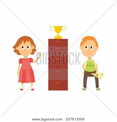 vector flat cartoon male character - cute boy and girl pupil, schoolkid standing smiling holding triangle, workbooks in hands near golden cup. Isolated illustration on a white background.