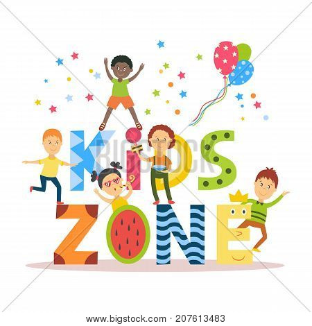 Banner, poster with Kid Zone text and children signing, dancing, having fun, flat cartoon vector illustration isolated on white background. Flat cartoon style Kid Zone banner, poster, invitation