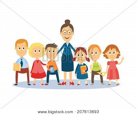 Full length portrait of female teacher standing with students, pupils, flat cartoon, comic style vector illustration isolated on white background. Funny teacher and students standing together