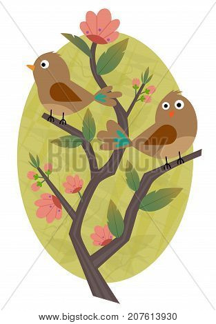 Clip-art of two birds standing on a blooming branch. Eps10