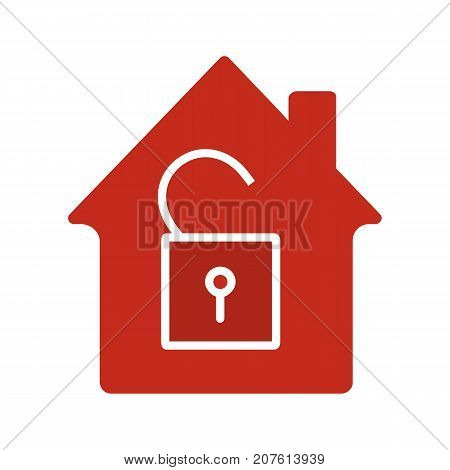 Unlocked house glyph color icon. Home protection. Silhouette symbol on white background. House with open padlock inside. Negative space. Vector illustration