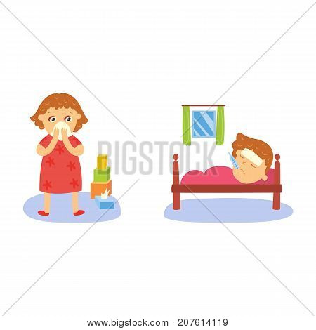 vector flat girl kid doing routine activity set. Child standing near cubics pyramid crying, lying sick with thermometer in mouth suffering from headache. Isolated illustration on a white background.