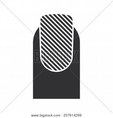 Matte nail polish glyph icon. Silhouette symbol. Classic manicure. Negative space. Vector isolated illustration
