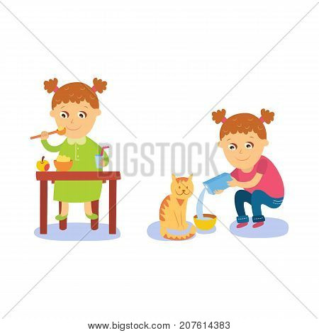 Little girl having breakfast and pouring milk to her cat, flat comic style cartoon vector illustration isolated on white background. Cartoon little girl having breakfast and feeding cat