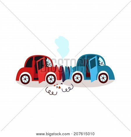 vector flat cartoon car crash in head-on collision, accident. Both have dents, broken glasses, scratches and smoke from hood. Isolated illustration on a white background