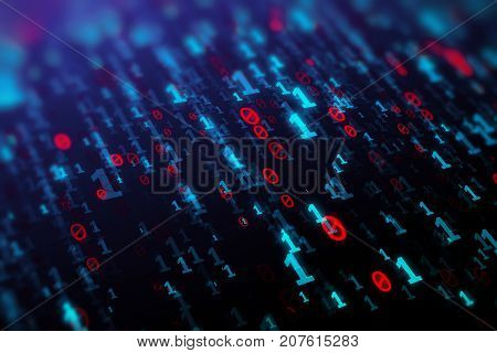 Abstract blue binary code background. Programming coding hacker matrix concept. 3D Rendering