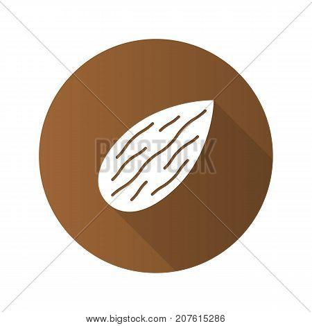 Almond flat design long shadow glyph icon. Vector silhouette illustration