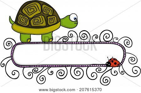 Scalable vectorial image representing a cute turtle and ladybird with blank banner, isolated on white.