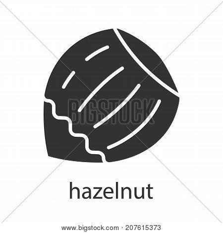 Hazelnut glyph icon. Silhouette symbol. Negative space. Vector isolated illustration