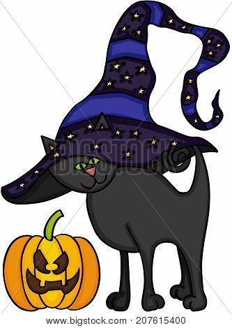 Scalable vectorial image representing a Halloween black cat and pumpkin, isolated on white.