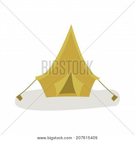 vector flat cartoon green hiking, camping triangle touristic canvas tent ready to use. Isolated illustration on a white background. Travelling, trip attribute concept