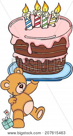 Scalable vectorial image representing a teddy bear holding big birthday cake, isolated on white.