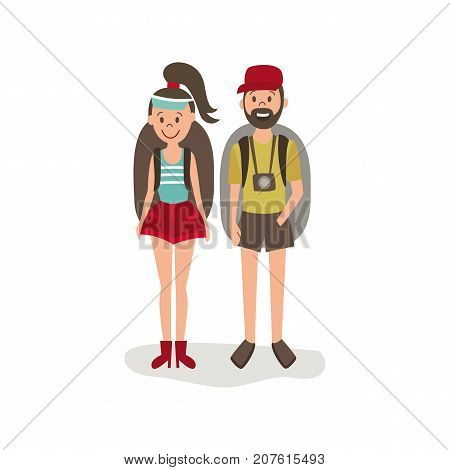 vector flat cartoon young man, woman hitch-hiking tourists smiling wearing backpack, watches cap. Isolated illustration on a white background.