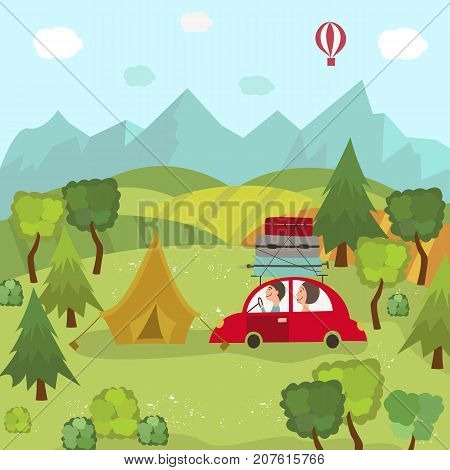 Family car trip and camping in countryside, green fields, trees, mountains and blue sky, flat cartoon vector illustration. Family travelling by car and camping in field, countryside